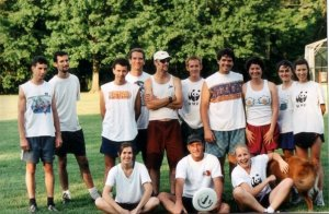 Biodiversity Support Program corporate Ultimate team circa 2000.  Back row (l to r) Tom Alnutt, Ken Kassem, Don Anderson, Vance Russel, Colby Loucks, Wes Wettengel,