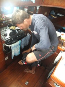 Sometimes you have to take off your pants to fit into the galley.