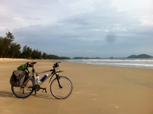The trusty Gary Fisher on the beaches of Peninsula Malaysia contemplating the South China Sea.