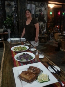 Anne Trono with one of her signature meals