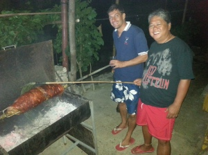 Eric and Romy tending to the Balinese pork roll.
