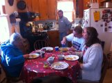 Breakfast around the Bedell's kitchen table.