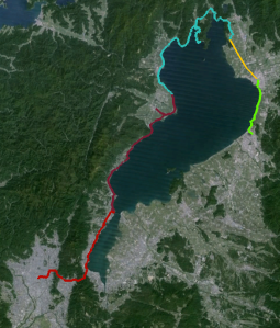 My trip around Biwako: Red - first day. Blue - Second day morning. Yellow - Second day ferried in a truck. Green - Second day afternoon. Blank - My sports tracking app won't export the final day. :( I hope I can update it soon.