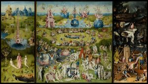 Hieronymus Bosch, The Garden of Earthly Delights.  But even this triptych has borders. :(