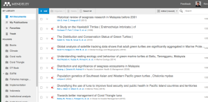 Screenshot of my Mendeley online library.